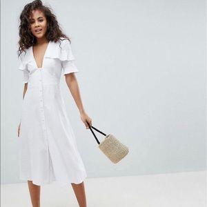 ASOS DESIGN white linen button down midi tea Dress
